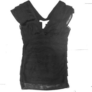 NWOT Max Studio Black Layered Fitted Top